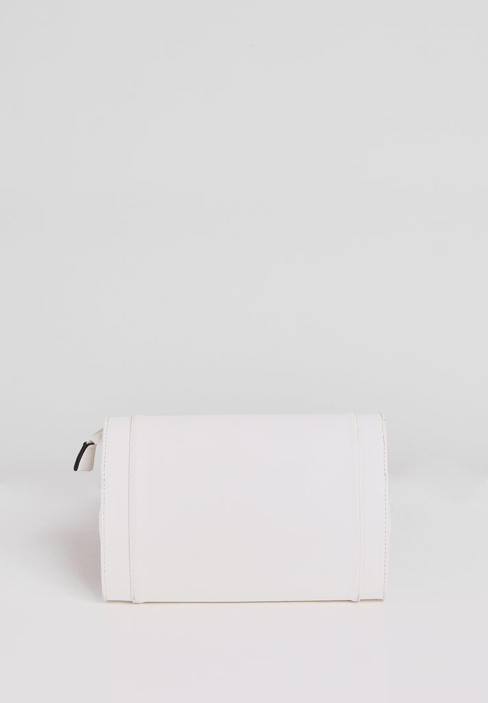 SMB2688-WHITE PANELLED SILVER TWIST BUCKLE CLUTCH BAG view 3