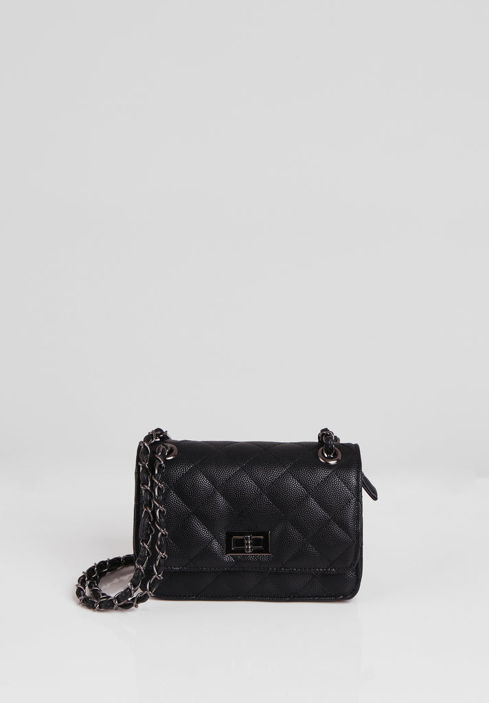 SMB2689-BLACK QUILTED CHAIN STRAP SHOULDER BAG