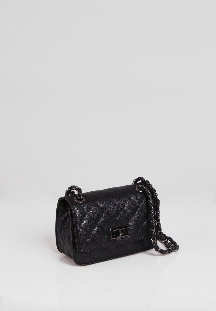 SMB2689-BLACK QUILTED CHAIN STRAP SHOULDER BAG view 2