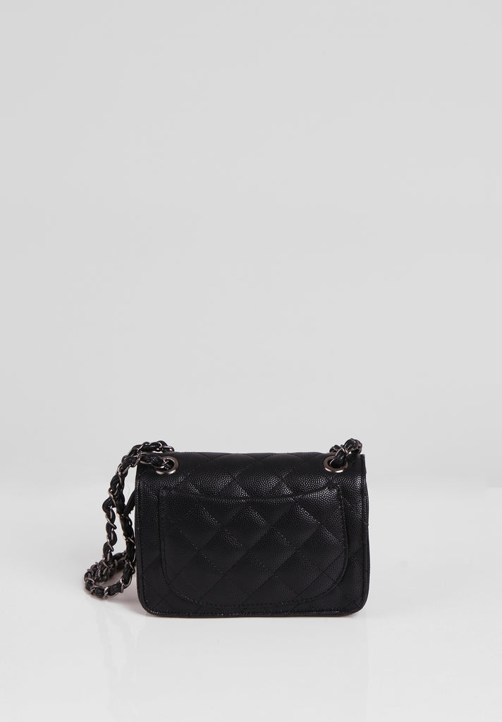 SMB2689-BLACK QUILTED CHAIN STRAP SHOULDER BAG view 3