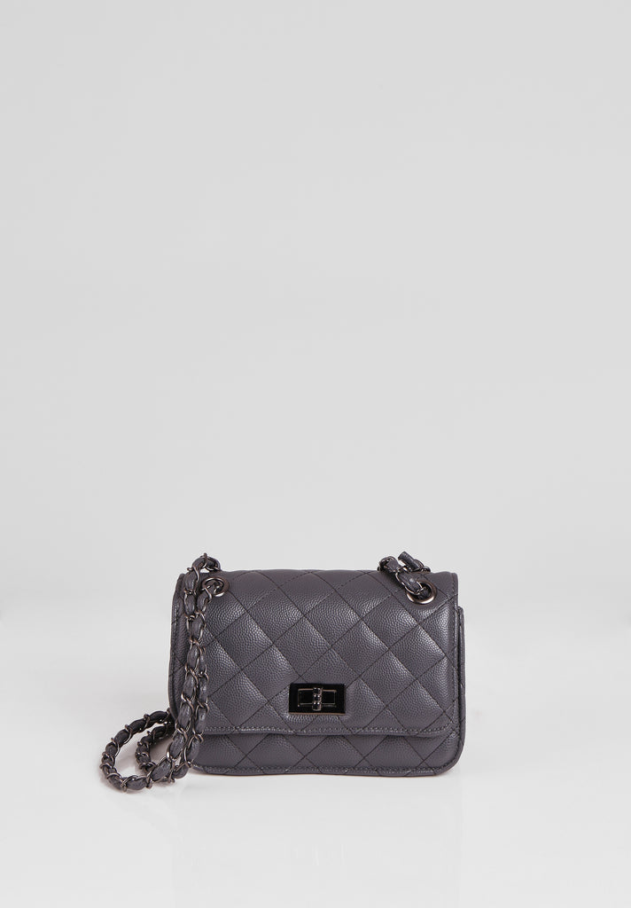 SMB2689-CHARCOAL QUILTED CHAIN STRAP SHOULDER BAG view main view