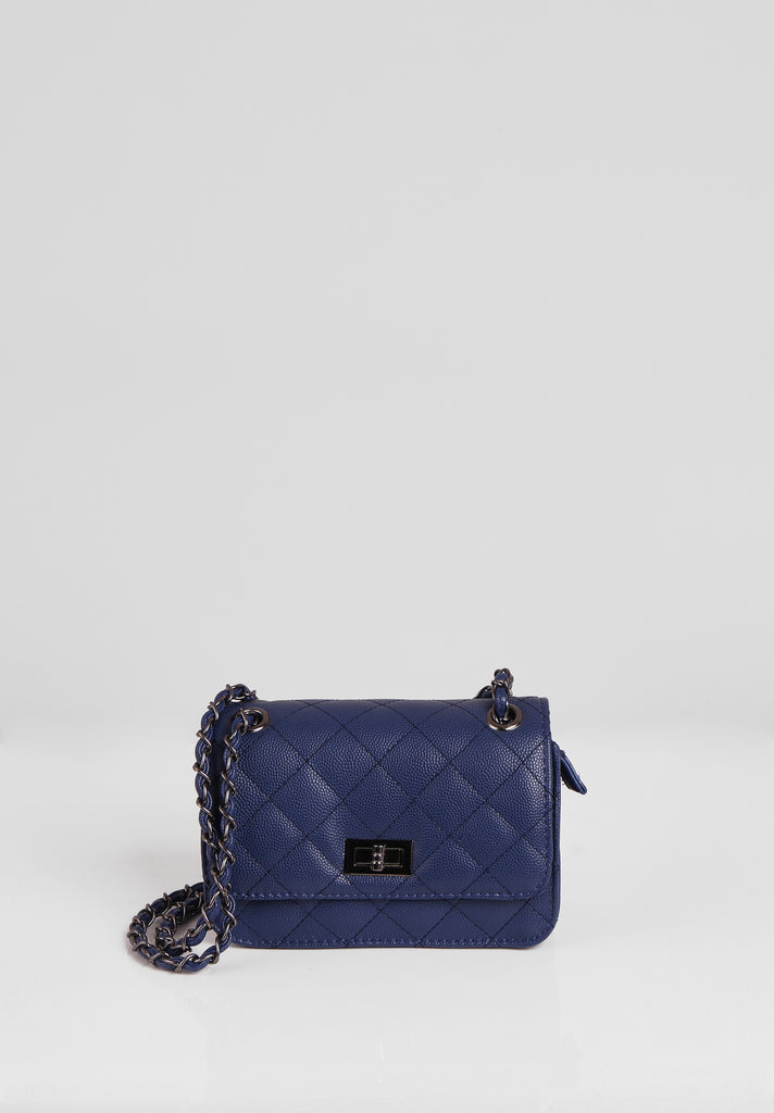SMB2689-NAVY QUILTED CHAIN STRAP SHOULDER BAG
