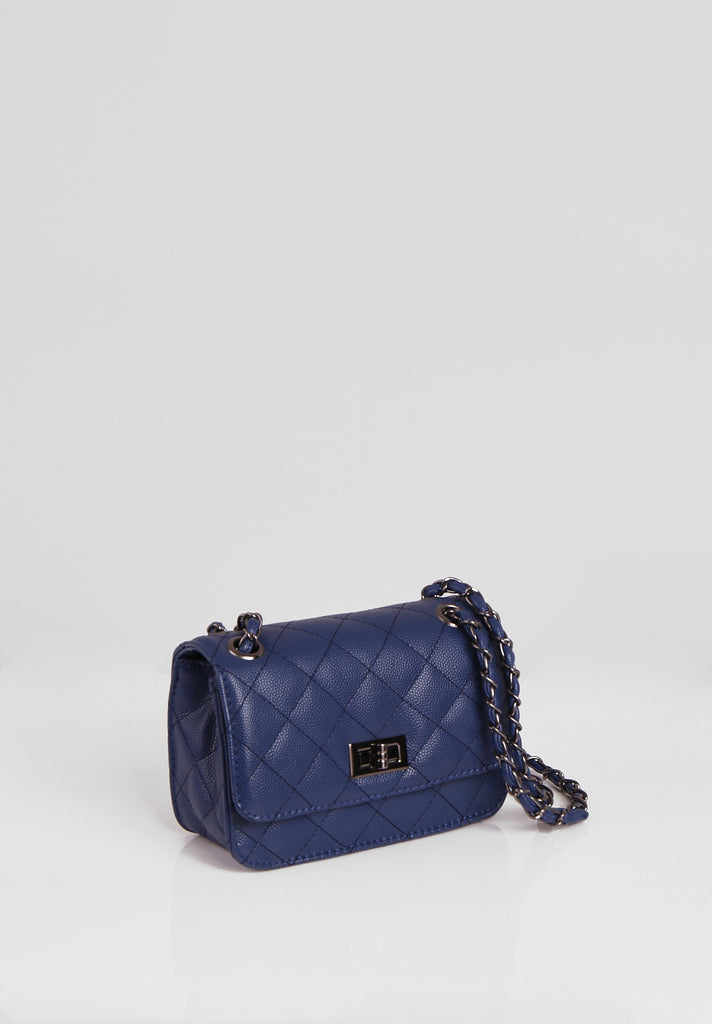 SMB2689-NAVY QUILTED CHAIN STRAP SHOULDER BAG view 2