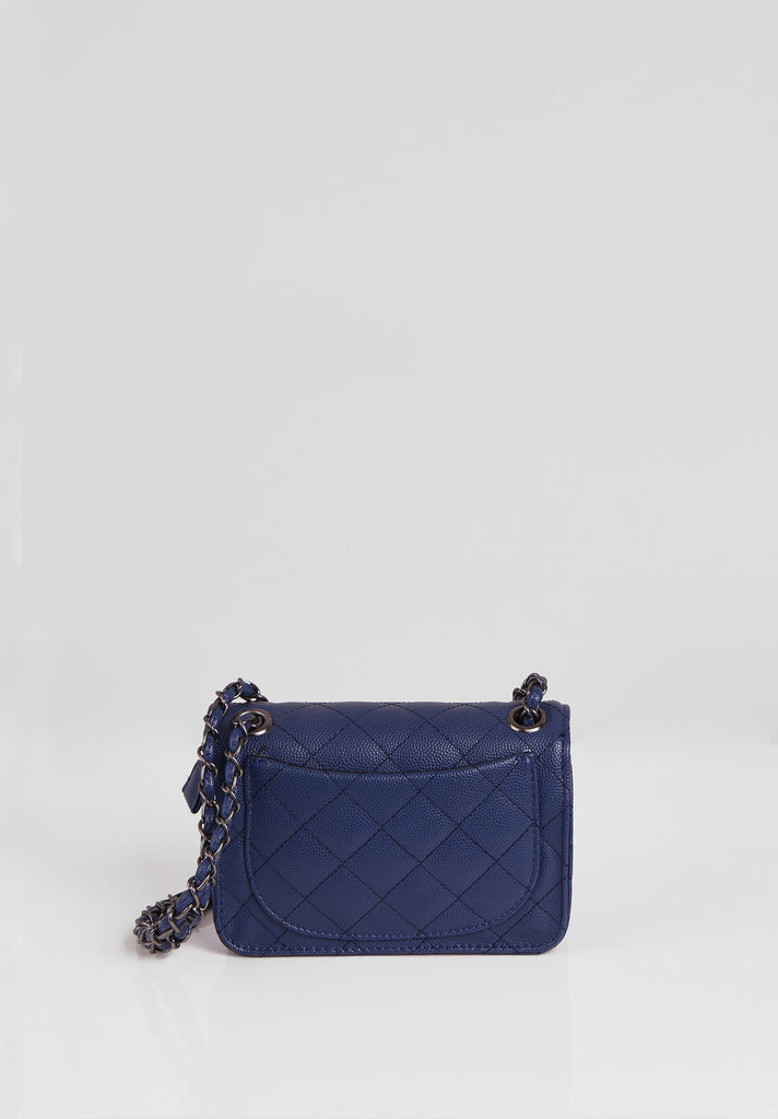 SMB2689-NAVY QUILTED CHAIN STRAP SHOULDER BAG view 3