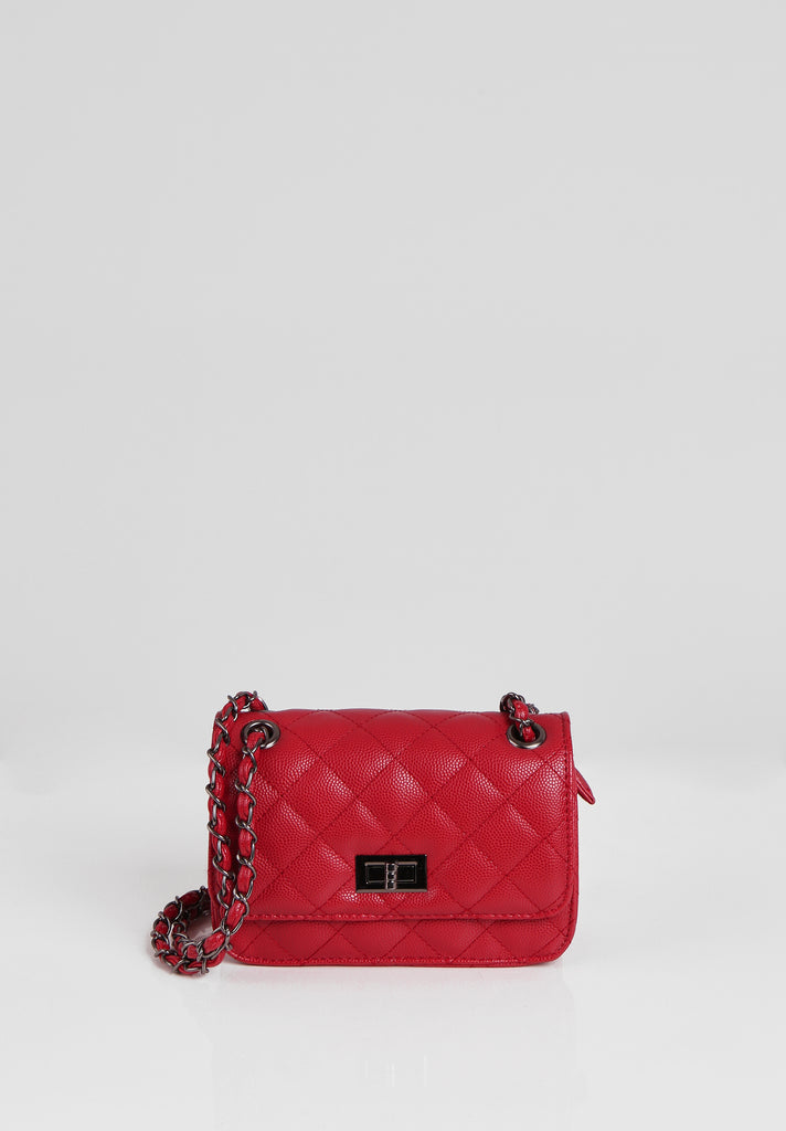 SMB2689-RED QUILTED CHAIN STRAP SHOULDER BAG