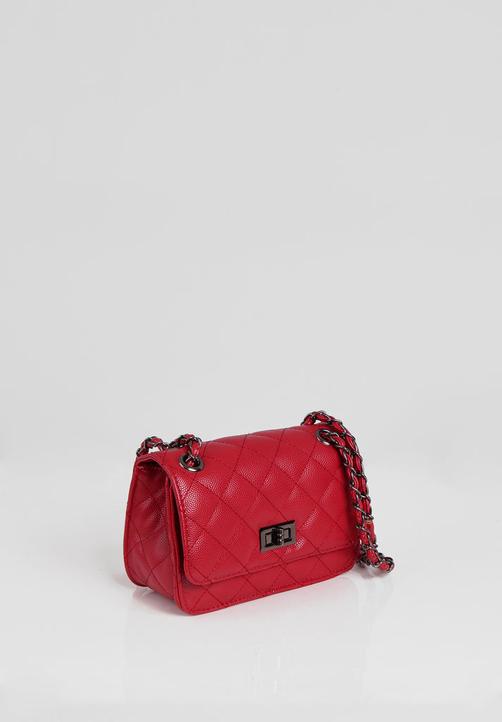 SMB2689-RED QUILTED CHAIN STRAP SHOULDER BAG view 2