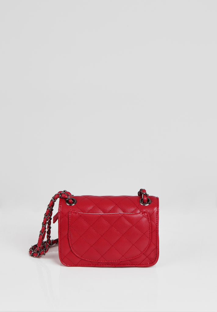 SMB2689-RED QUILTED CHAIN STRAP SHOULDER BAG view 3