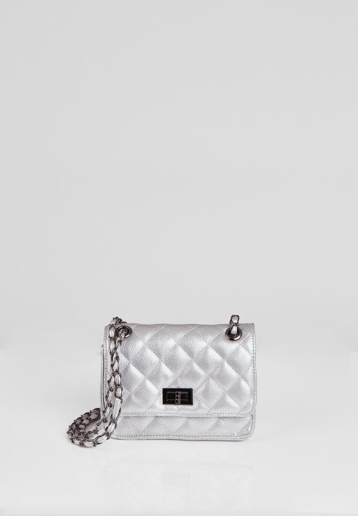 SMB2689-SILVER QUILTED CHAIN STRAP SHOULDER BAG