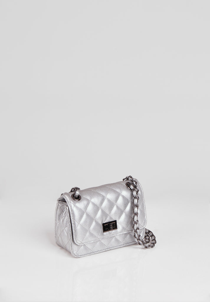 SMB2689-SILVER QUILTED CHAIN STRAP SHOULDER BAG view 2