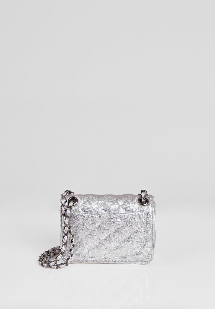 SMB2689-SILVER QUILTED CHAIN STRAP SHOULDER BAG view 3