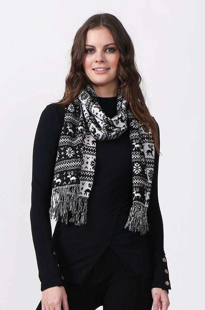 SMC0299-BLACK SNOWFLAKE SCARF view main view