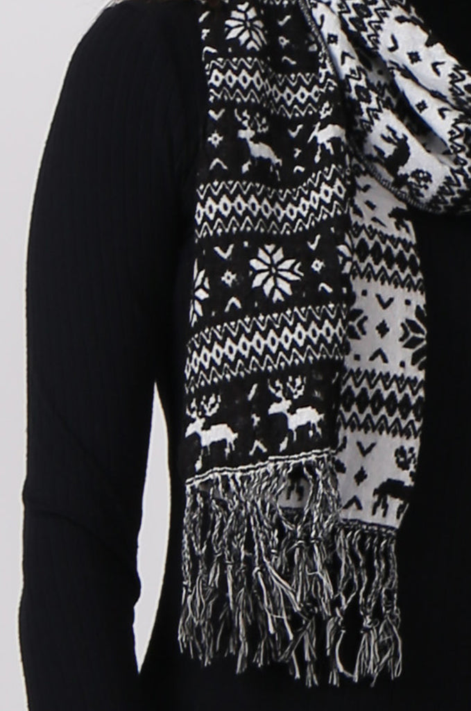 SMC0299-BLACK SNOWFLAKE SCARF view 2