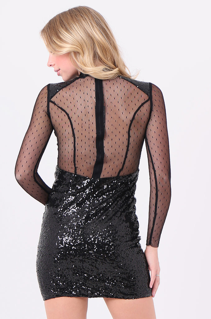 SMD2121-BLACK LONG SLEEVE SEQUIN & MESH DRESS view 4
