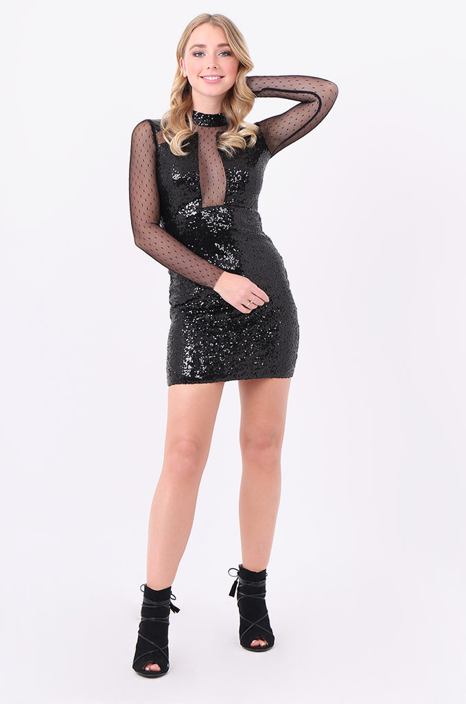 SMD2121-BLACK LONG SLEEVE SEQUIN & MESH DRESS view main view