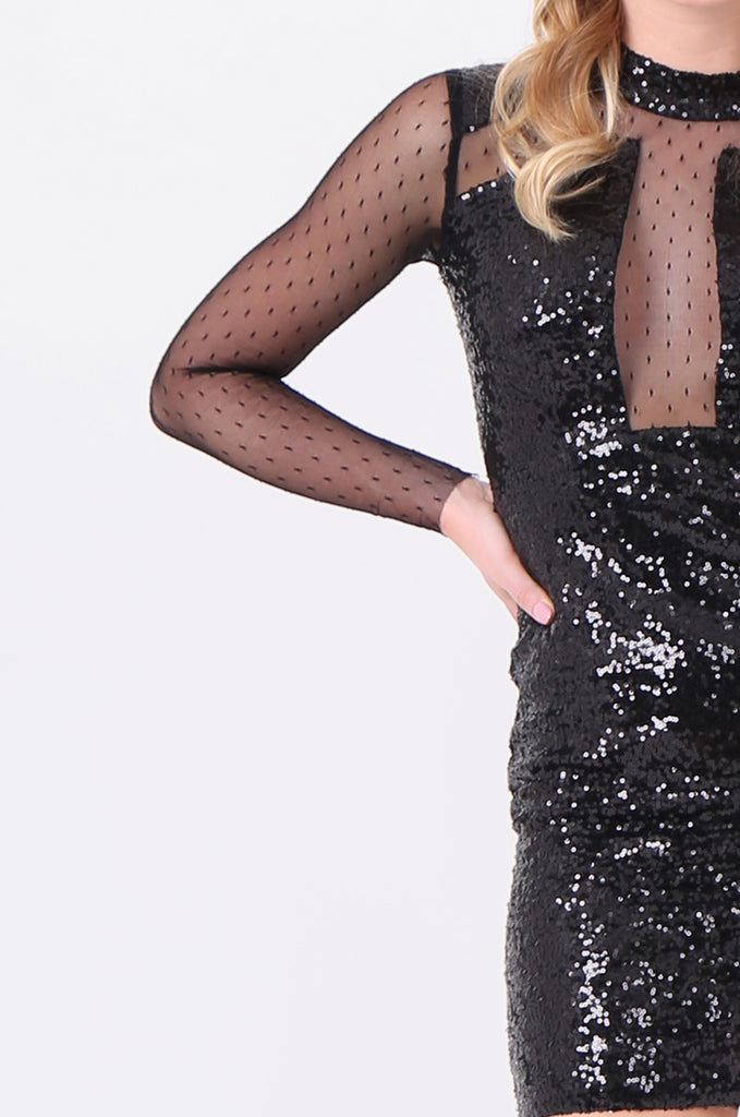 SMD2121-BLACK LONG SLEEVE SEQUIN & MESH DRESS view 5