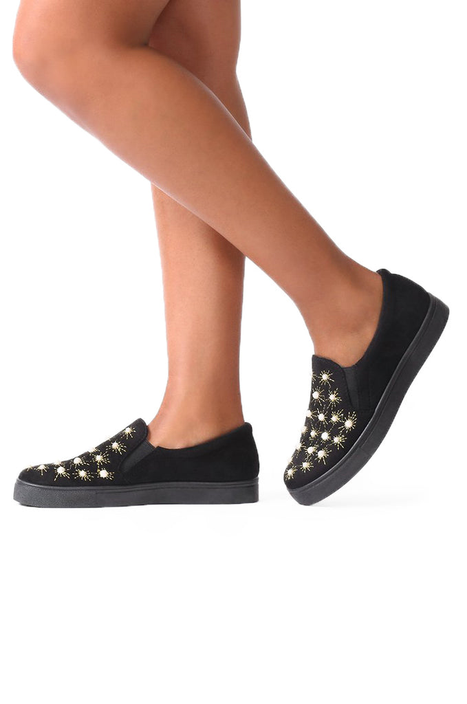 SMF0033-BLACK PEARL STUDDED TRAINER view main view