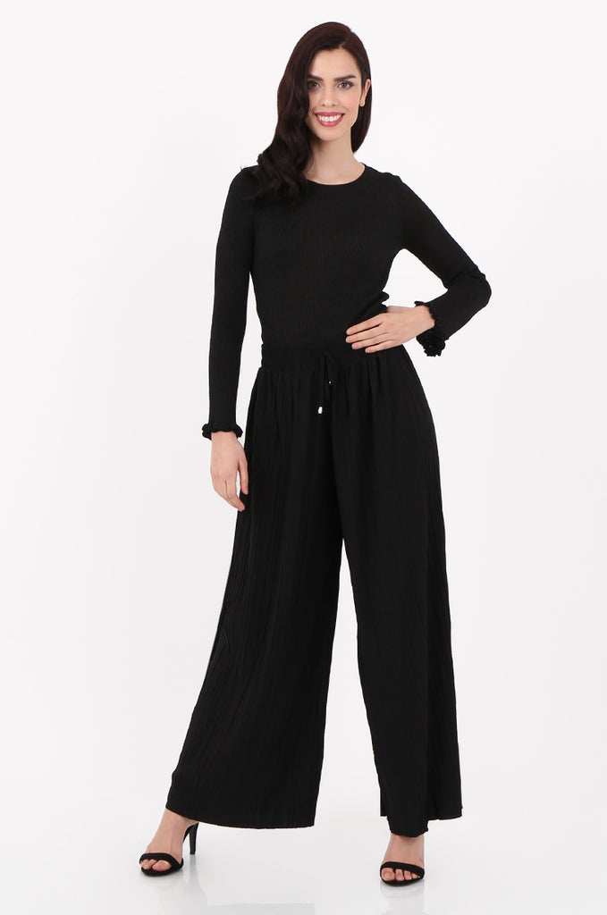 SMI2560-BLACK PLEATED WIDE LEG PANT view main view