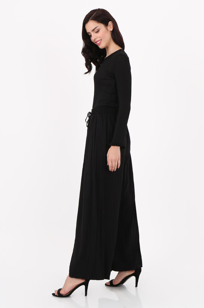 SMI2560-BLACK PLEATED WIDE LEG PANT view 2