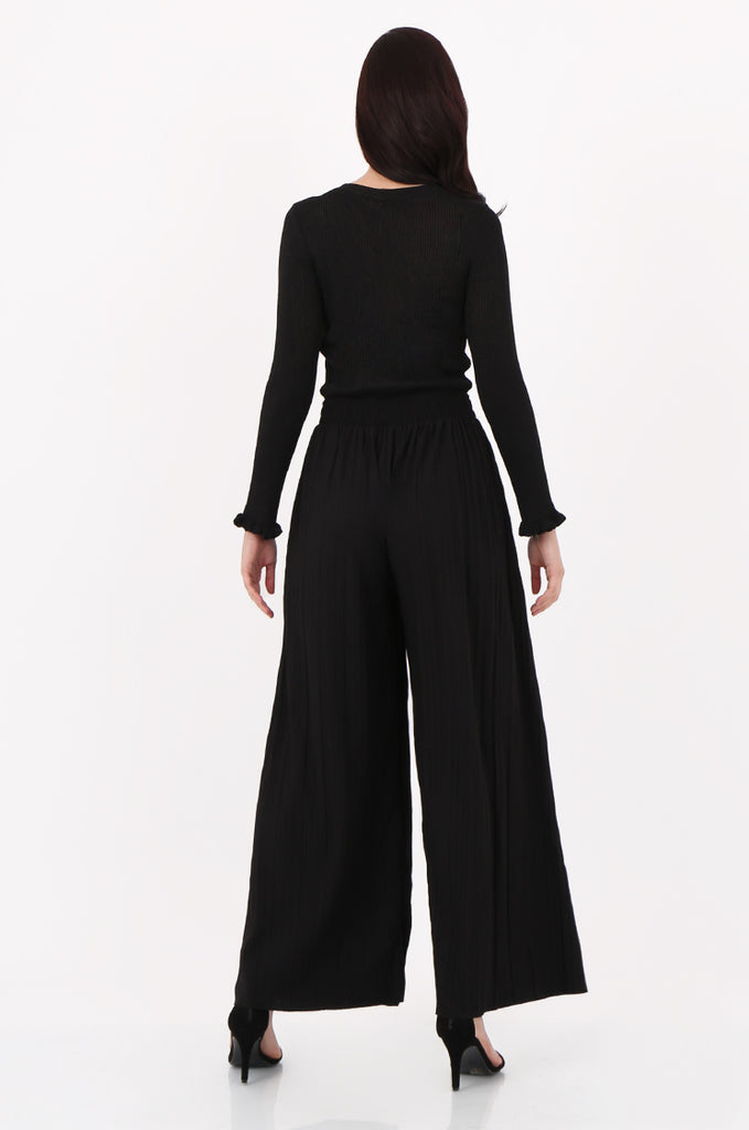 SMI2560-BLACK PLEATED WIDE LEG PANT view 3