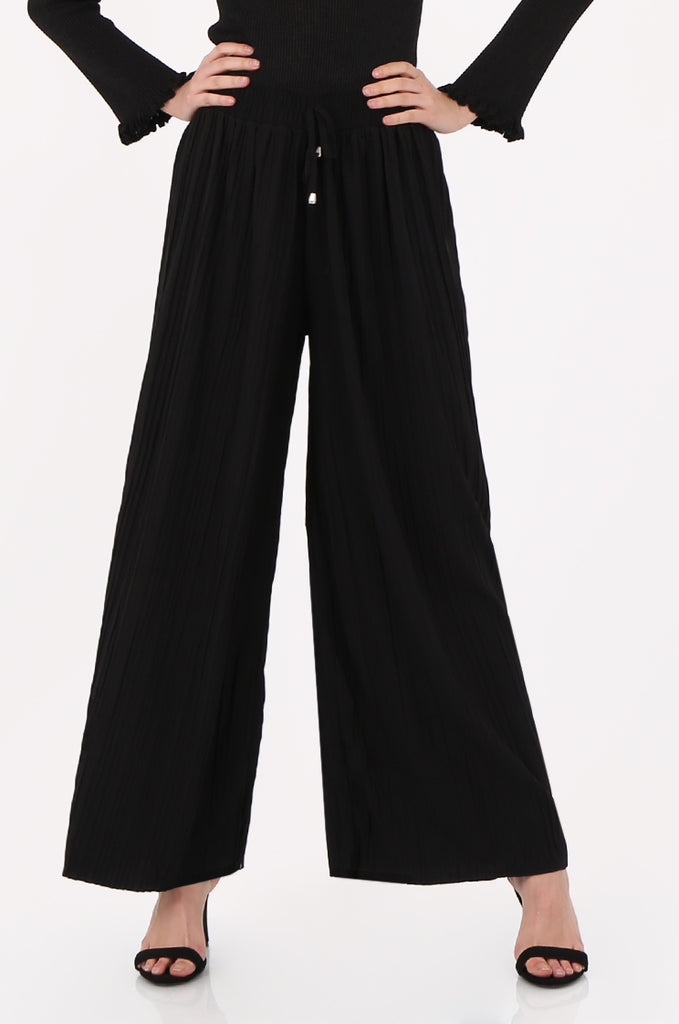 SMI2560-BLACK PLEATED WIDE LEG PANT view 4