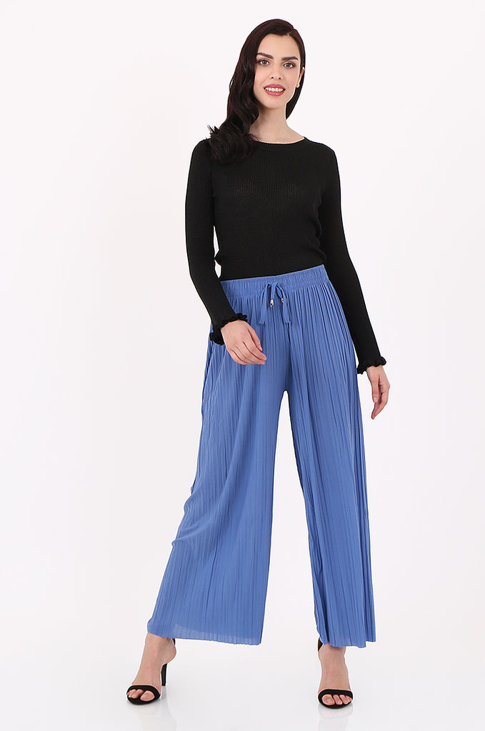 SMI2560-BLUE PLEATED WIDE LEG PANT