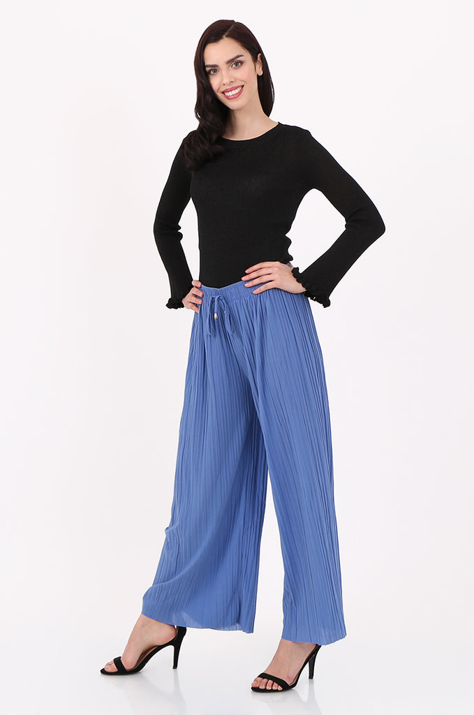 SMI2560-BLUE PLEATED WIDE LEG PANT view 2