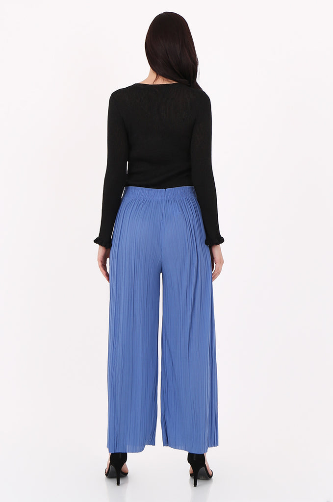SMI2560-BLUE PLEATED WIDE LEG PANT view 3