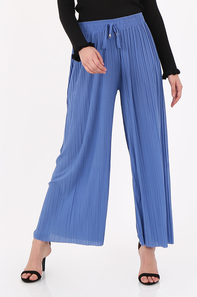 SMI2560-BLUE PLEATED WIDE LEG PANT view 4