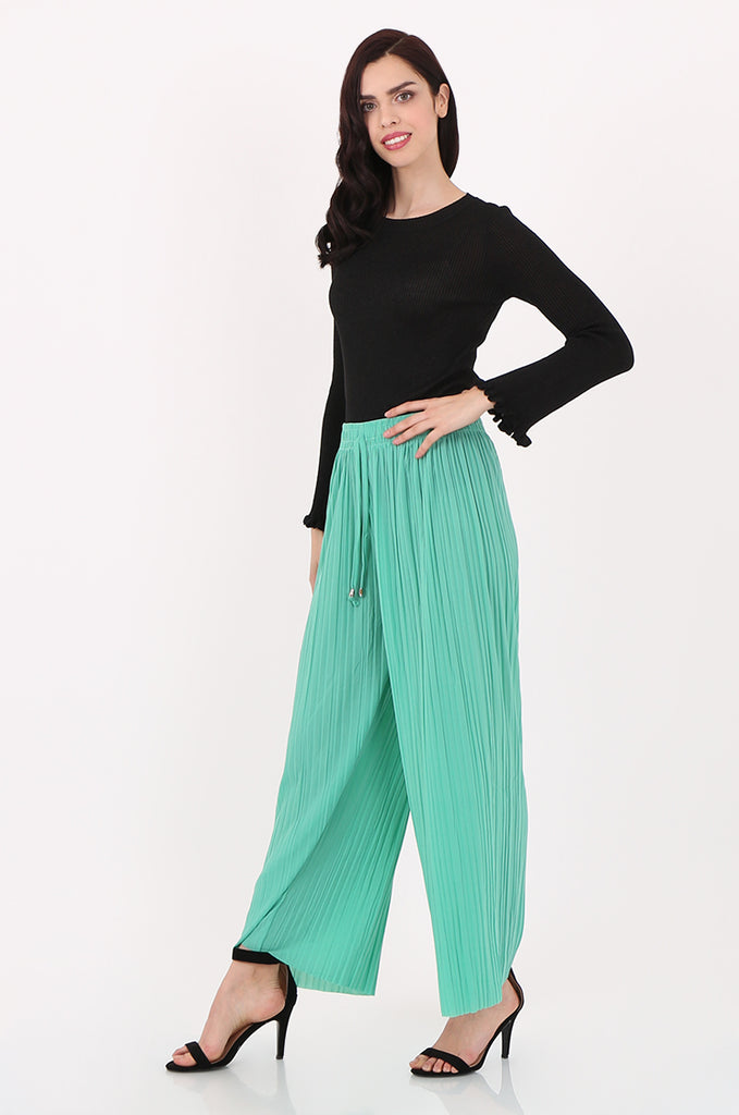 SMI2560-GREEN PLEATED WIDE LEG PANT