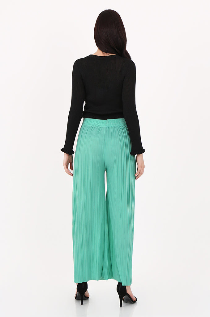 SMI2560-GREEN PLEATED WIDE LEG PANT view 2