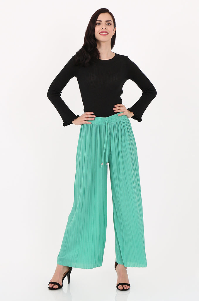 SMI2560-GREEN PLEATED WIDE LEG PANT view 3