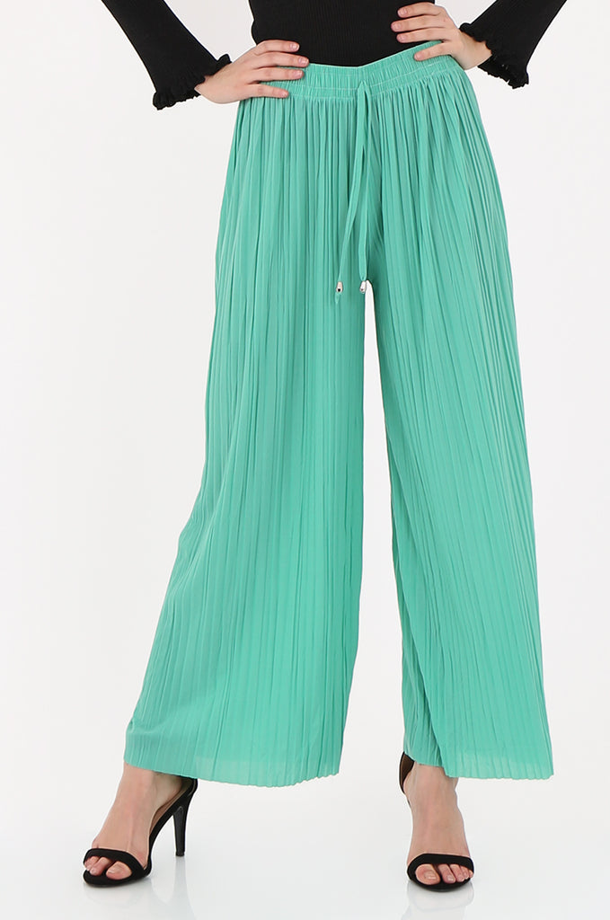 SMI2560-GREEN PLEATED WIDE LEG PANT view 4