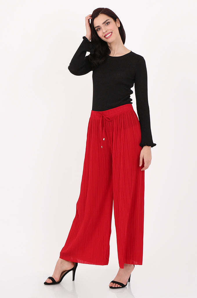 SMI2560-RED PLEATED WIDE LEG PANT
