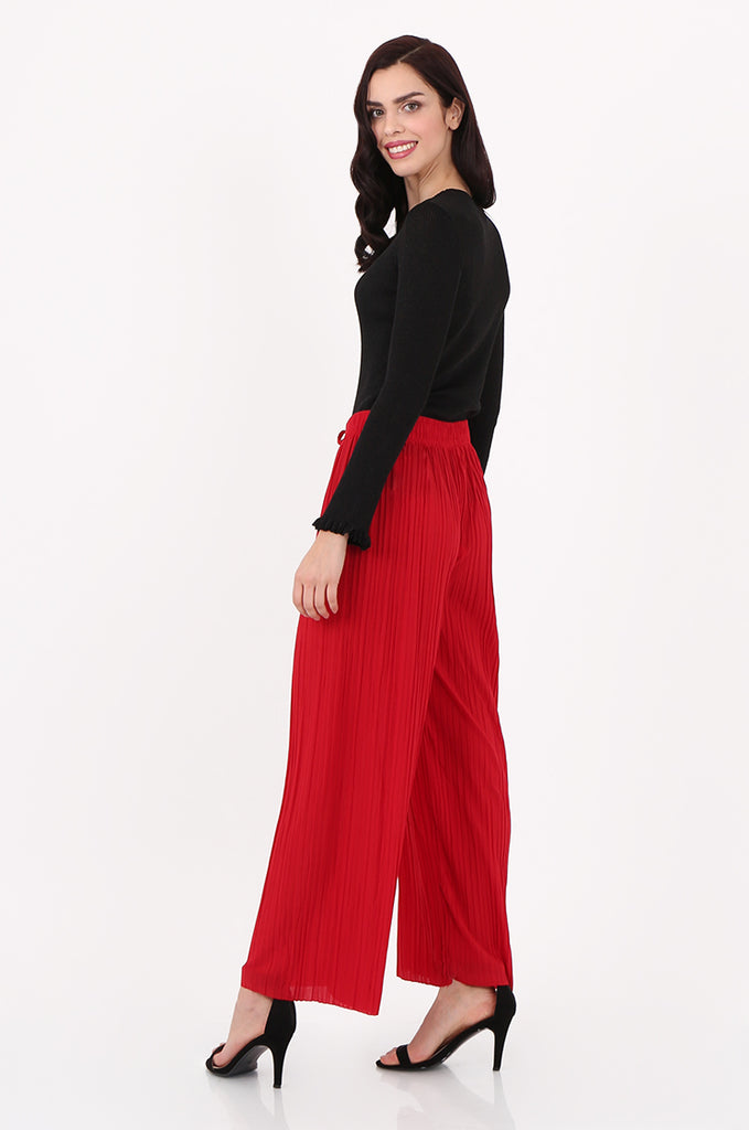SMI2560-RED PLEATED WIDE LEG PANT view 2