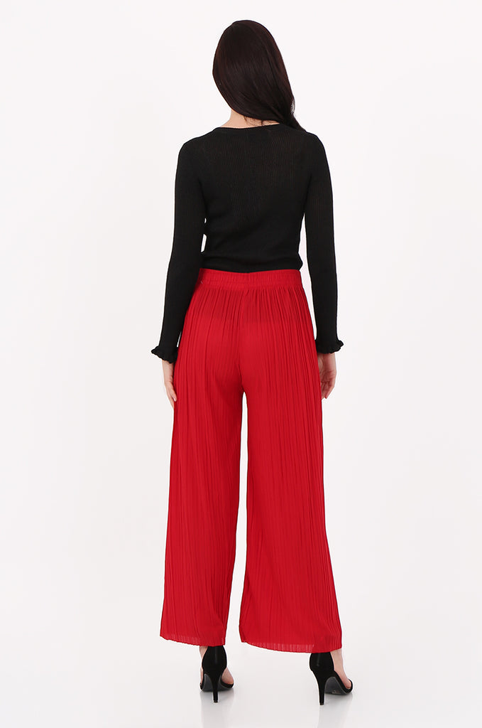 SMI2560-RED PLEATED WIDE LEG PANT view 3