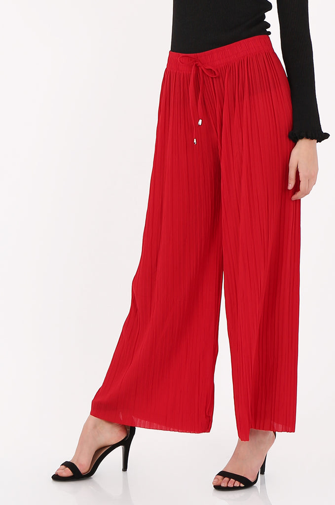 SMI2560-RED PLEATED WIDE LEG PANT view 4