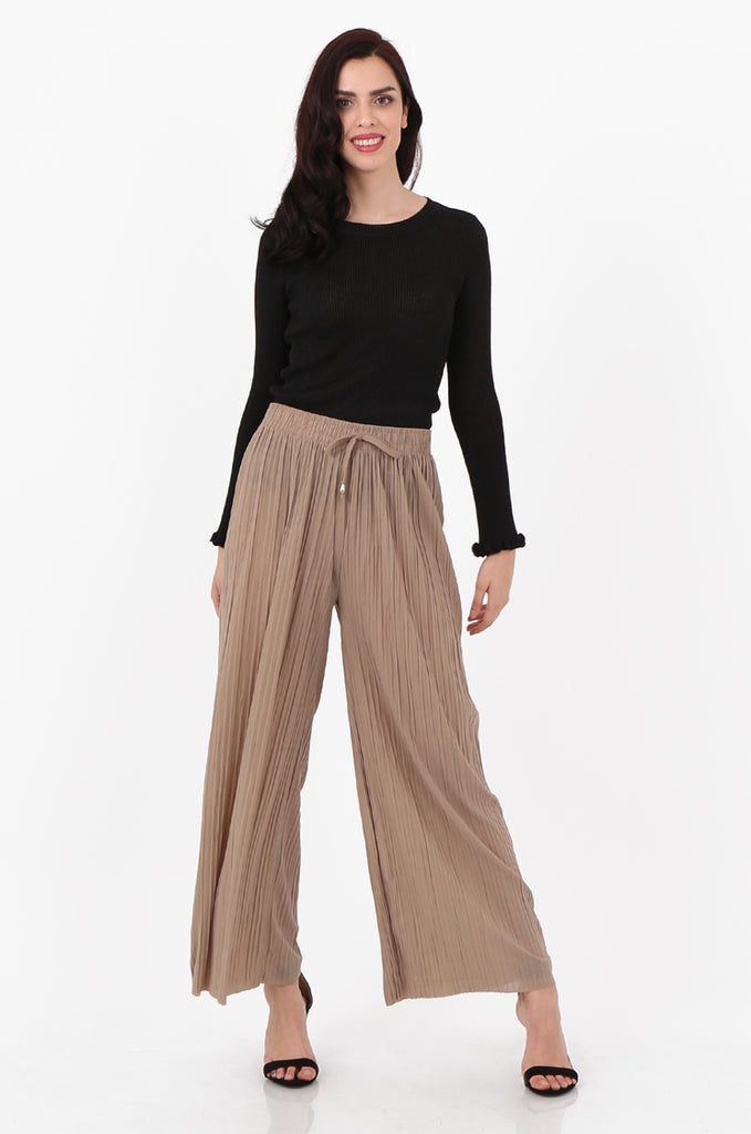 SMI2560-STONE PLEATED WIDE LEG PANT