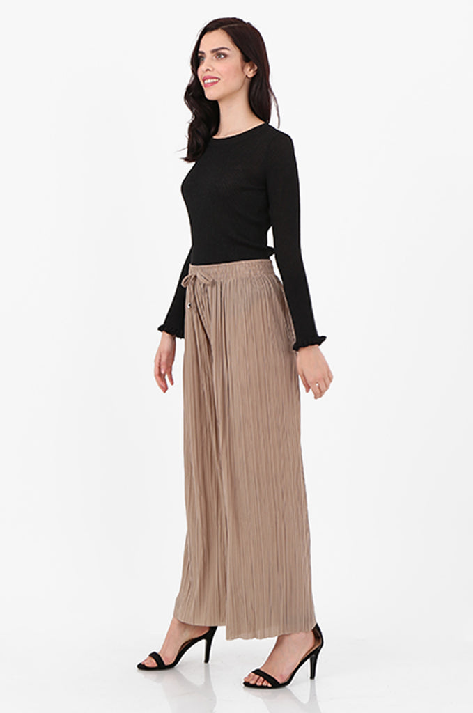 SMI2560-STONE PLEATED WIDE LEG PANT view 2