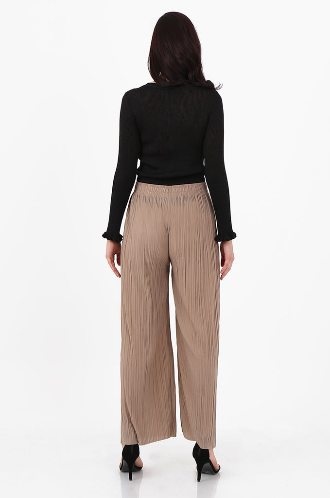 SMI2560-STONE PLEATED WIDE LEG PANT view 3