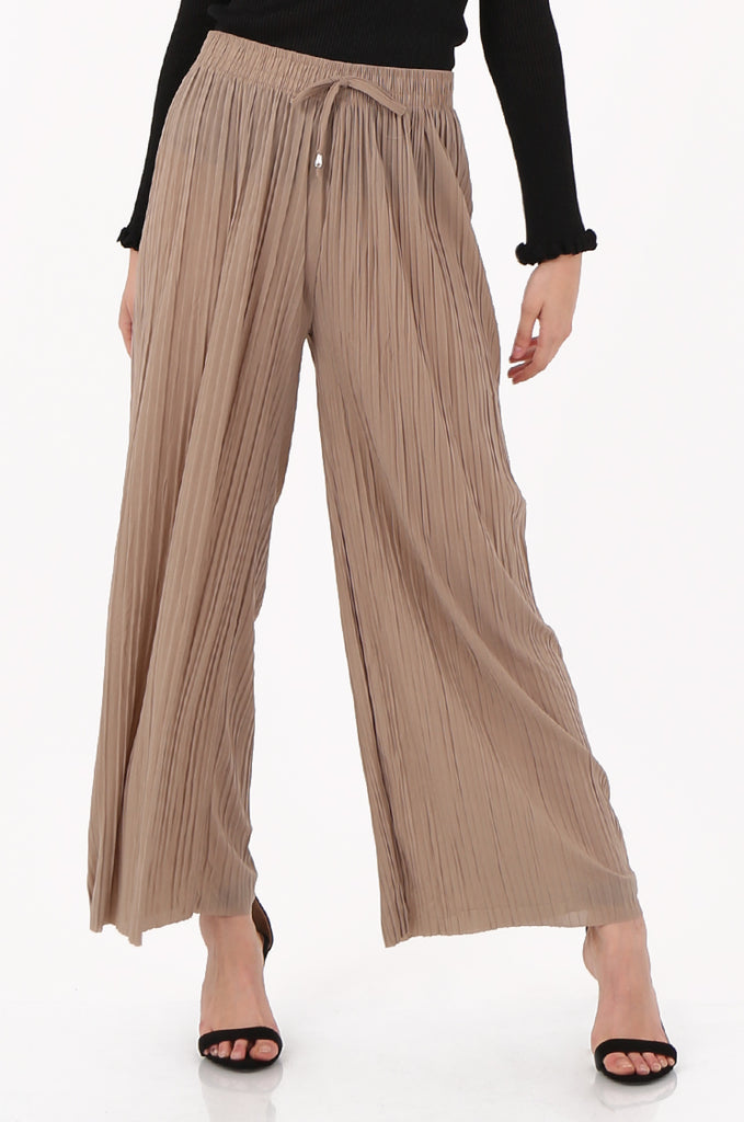 SMI2560-STONE PLEATED WIDE LEG PANT view 4