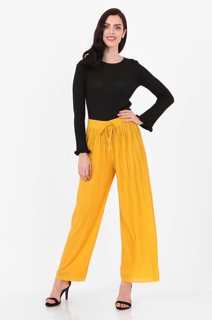 SMI2560-YELLOW PLEATED WIDE LEG PANT