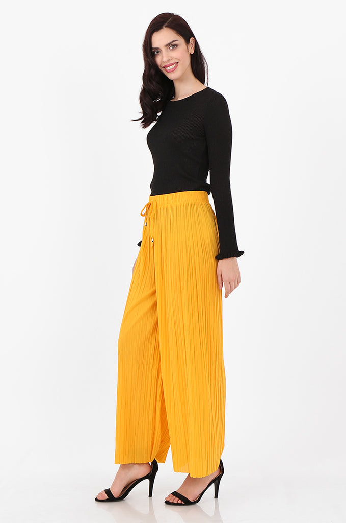 SMI2560-YELLOW PLEATED WIDE LEG PANT view 2