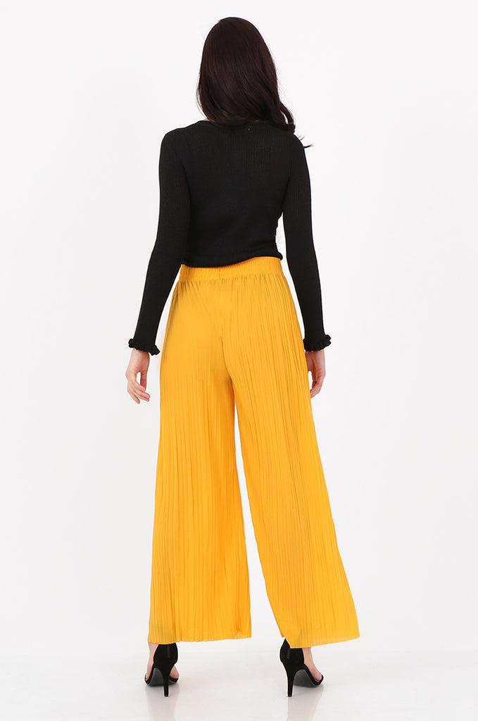 SMI2560-YELLOW PLEATED WIDE LEG PANT view 3