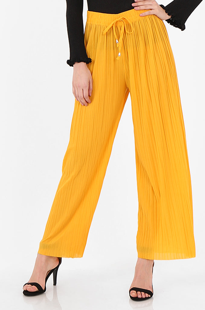 SMI2560-YELLOW PLEATED WIDE LEG PANT view 4