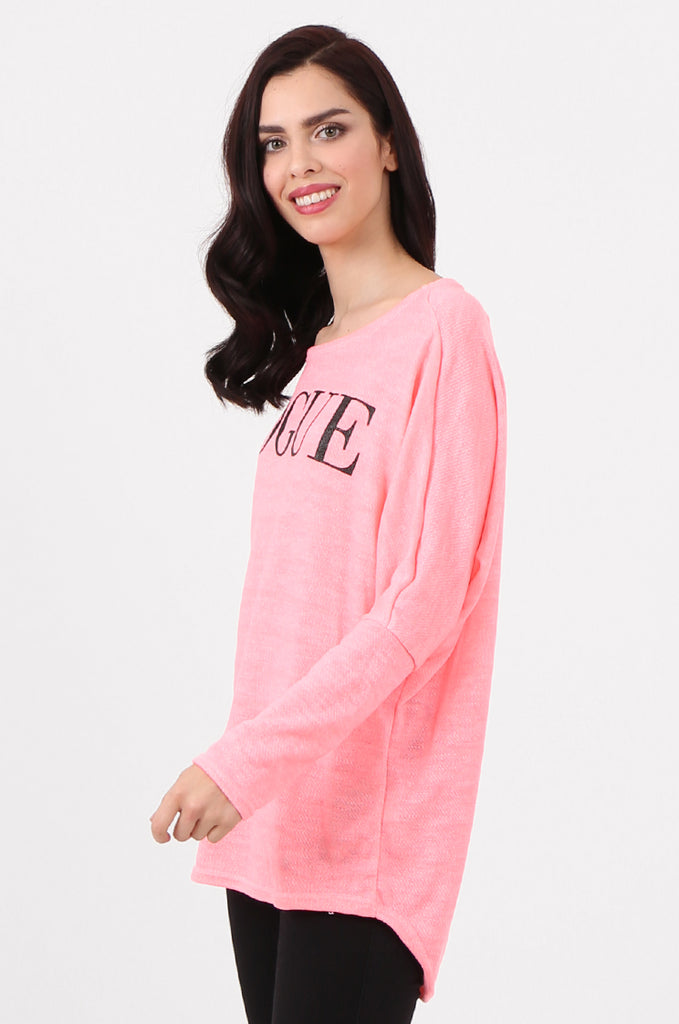 SMI2562-PINK LOOSE FIT NEON PRINTED KNIT TOP view 2