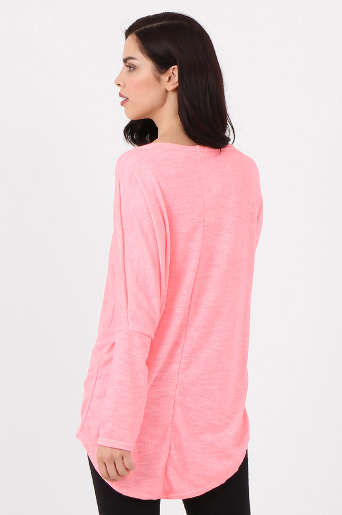 SMI2562-PINK LOOSE FIT NEON PRINTED KNIT TOP view 3