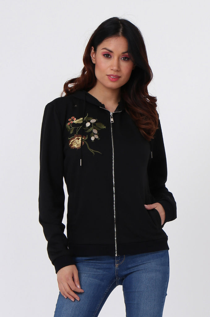 SMK1040-BLACK FLORAL EMBROIDED HOODED SWEATSHIRT