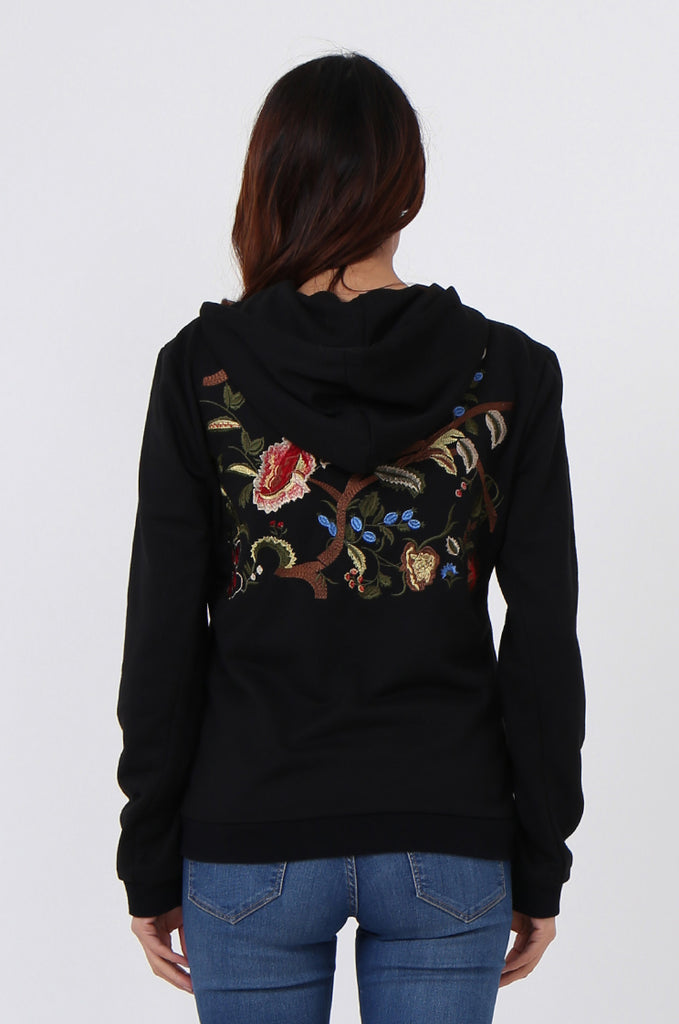 SMK1040-BLACK FLORAL EMBROIDED HOODED SWEATSHIRT view 3