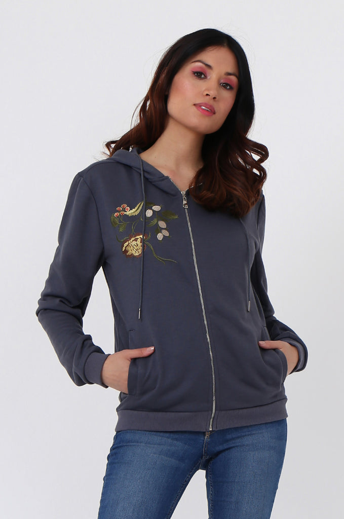 SMK1040-GREY FLORAL EMBROIDED HOODED SWEATSHIRT