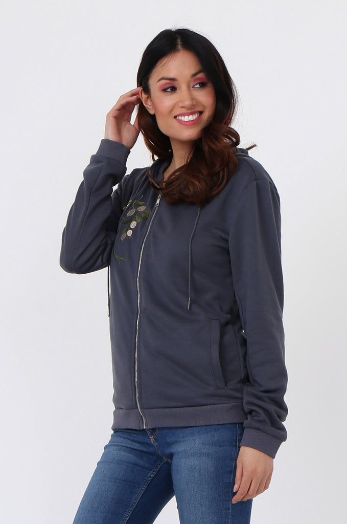 SMK1040-GREY FLORAL EMBROIDED HOODED SWEATSHIRT view 2